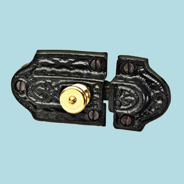 Cabinet Latch Cast Iron with Brass Knob