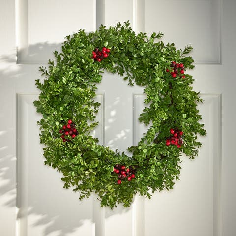 "Milner Indoor 26"" Artificial Boxwood Wreath with Berries by Christopher Knight Home - Green + Red"