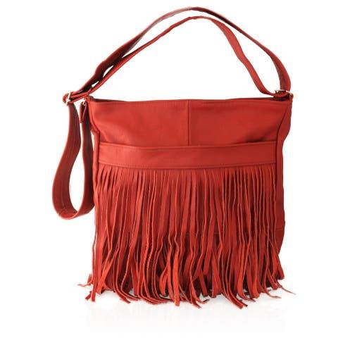 AFONiE Western Fringe Mexican Genuine Leather Messenger Handbag