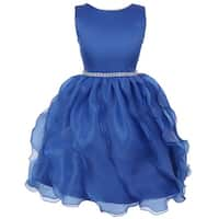 Chic Baby Big Girl Royal Blue Dull Satin Organza Special Occasion Dress 8-14