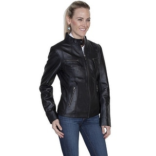 Scully Western Jacket Womens Leather Fitted Classic Zipper Black L177