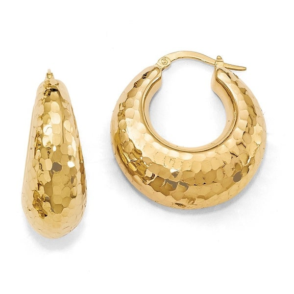 Italian 14k Gold Polished and Hammered Hinged Hoop Earrings