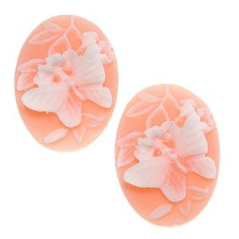 Vintage Style Lucite Oval Cameo Peach With White Butterfly 25x18mm (2)