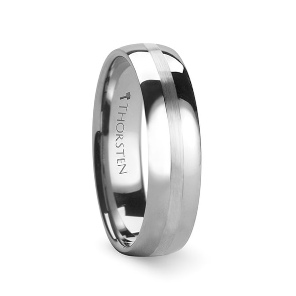 THORSTEN - BELLATOR Domed with Brushed Stripe Tungsten Wedding Ring - 6mm