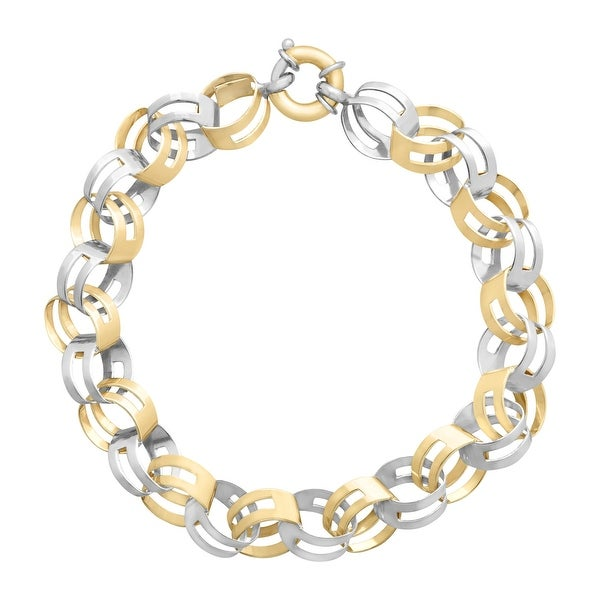 Two-Tone Link Bracelet in 14K Gold-Bonded Sterling Silver