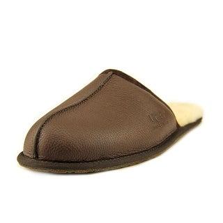 Ugg Australia Scuff Men Round Toe Leather Brown Slipper