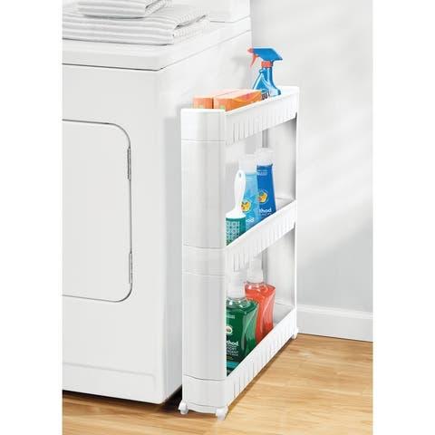 mDesign Slim Rolling Laundry Utility Cart Organizer with 3 Shelves