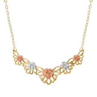 Just Gold Floral Garl& Necklace in 10K Three-Tone Gold