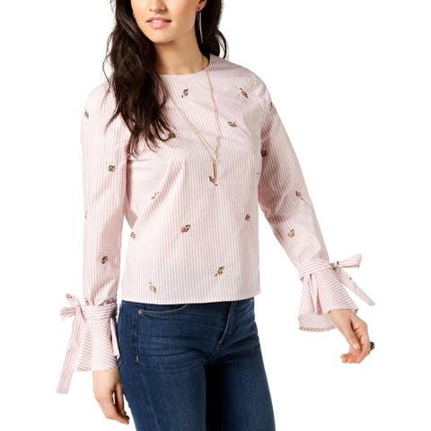 JOA Womens Blouse Embroidered Tie-Sleeve - L