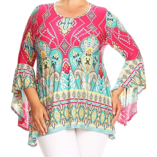 Shop Women Plus Size Paisley Tapestry Bell Sleeve Tunic