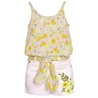 Little Girls White Yellow Floral Print Knot Accent 2 Pc Shorts Outfit