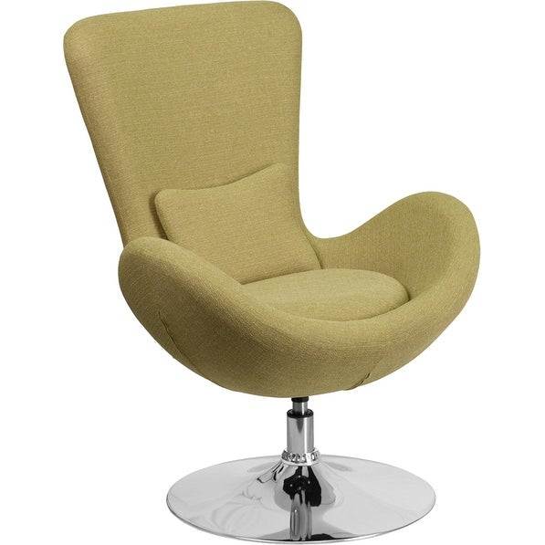 Radisson Green Fabric Side Office Reception/Guest Egg Chair, Curved Arms