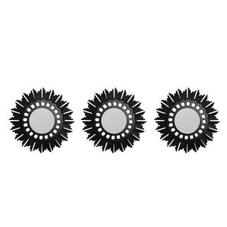 Set of 3 Floral Sunburst Inspired Matte Black Decorative Round Mirrors 9.5""