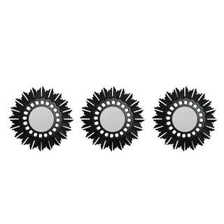 "Set of 3 Floral Sunburst Inspired Brushed Bronze Decorative Round Mirrors 9.5"" - Black"