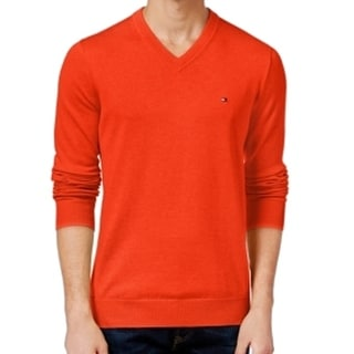 Tommy Hilfiger NEW Orange Mens Size XS V-Neck Ribbed Pullover Sweater