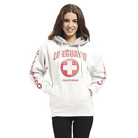 LIFEGUARD Officially Licensed Ladies California Hoodie Sweatshirt Apparel For Women, Teens and Girls (Medium, White)