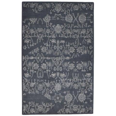 "One of a Kind Hand-Tufted Americana 5' x 8' Floral & Botanical Wool Black Rug - 5'2""x8'1"""