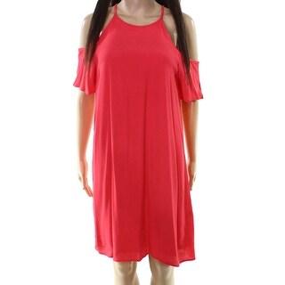 NSR Womens Large Cold-Shoulder Scoop-Neck Shift Dress
