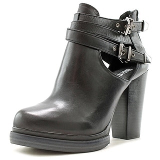 Bronx Cherry Top Women Round Toe Leather Black Ankle Boot