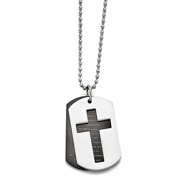 Chisel Stainless Steel Polished Black IP-plated Lord's Prayer Necklace - 24 in