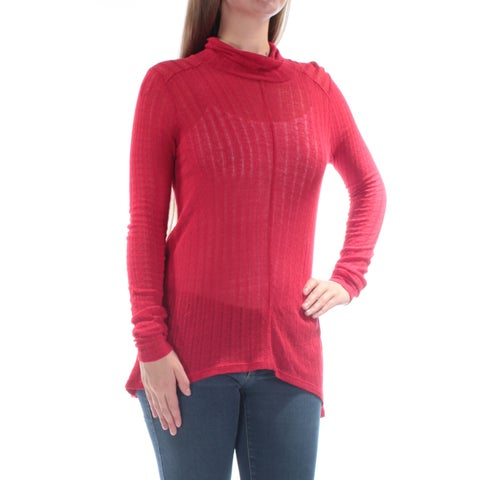 LUCKY BRAND Womens Red Textured Long Sleeve Turtle Neck Top Size: M