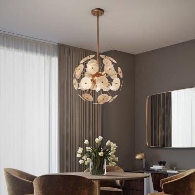 "Modern Gold 6-light Chandeliers Mica Slice Ball Lights for Dining Room - D16.5"" x H72.5"""