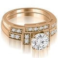 1.05 cttw. 14K Rose Gold Antique Milgrain Round Diamond Bridal Set - Thumbnail 0