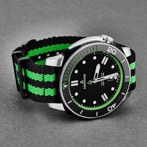 Anonimo Men's AM-1002.11.007.A16 'Nautilo' Black/Green Dial Fabric Strap Swiss Automatic Watch