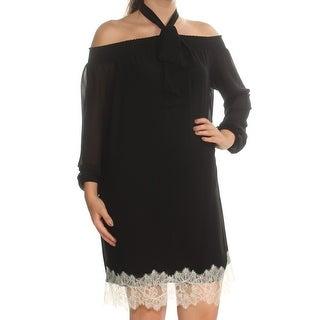 MICHAEL KORS Womens Black Lace Cold Shoulder Long Sleeve Tie Neck Above The Knee Shift Dress Petites Size: S