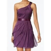 Adrianna Papell Purple Womens Size 14 Tiered Chiffon Sheath Dress
