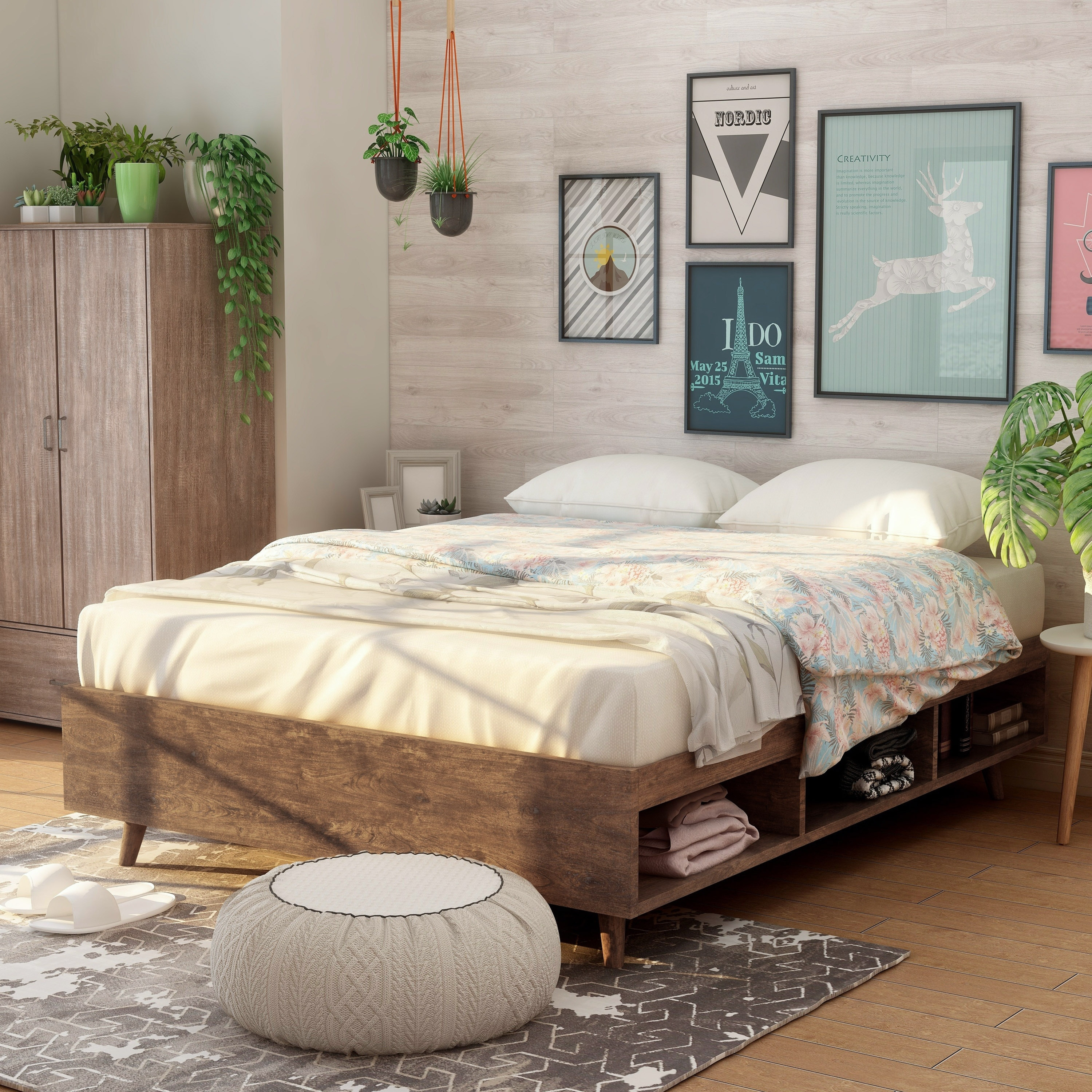 Shop Black Friday Deals On Kael Mid Century Modern Storage Queen Size Platform Bed Overstock 30104685