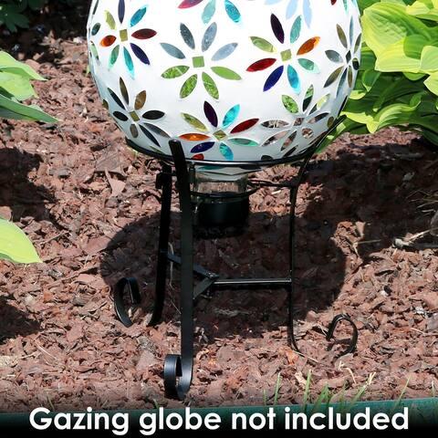 """Gazing Globe Ball Stand fits 10"""" or 12"""" Globes - Black Steel - 9"""""""