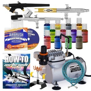 Cake Airbrush Decorating Kit - 3 Airbrushes, Compressor and 12 Chefmaster Colors
