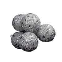 6 December Diamonds Silver Crystal Shatterproof Christmas Ball Ornaments 3.75""