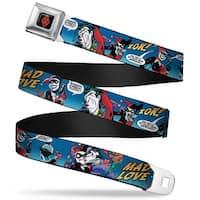 Harley Quinn Diamond Full Color Black Red Harley Quinn & Joker Mad Love Seatbelt Belt