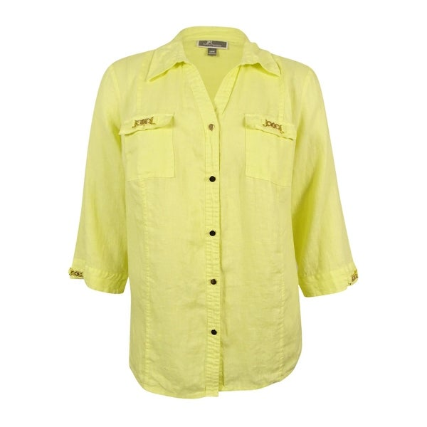 e9749fd002f00e Shop JM Collection Women's Plus Size Chain-Trimmed Linen Shirt (18W, Lime  Chiffon) - Lime Chiffon - 18W - On Sale - Free Shipping On Orders Over $45  ...