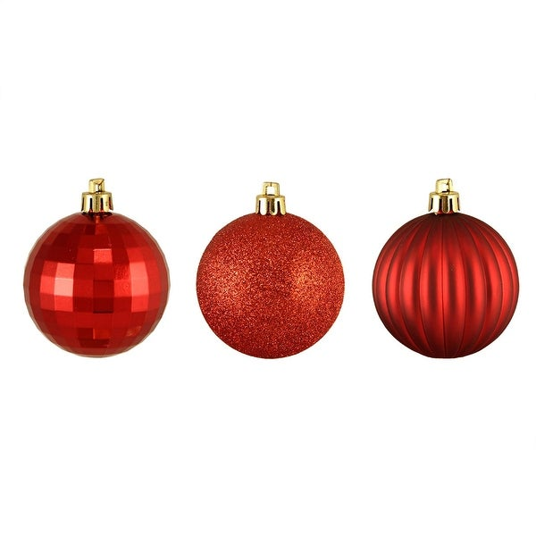 "100ct Red Hot 3-Finish Shatterproof Christmas Ball Ornaments 2.5"" (60mm)"