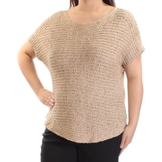 Womens Brown Short Sleeve Jewel Neck Sweater Size XL