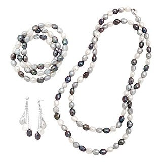 Honora 7-8mm Grey Freshwater Pearl Necklace, Earring, & Bracelets Set in Sterling Silver - multi-color