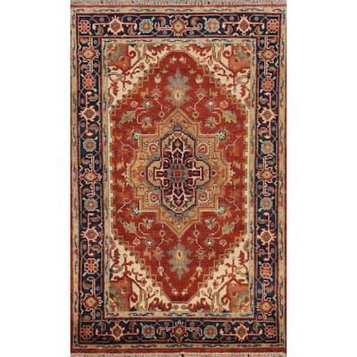 "Geometric Heriz Oriental Traditional Area Rug Hand-knotted Wool Carpet - 3'8"" x 5'10"""