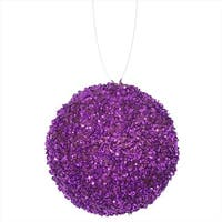 4 ct. Purple Majesty Sequin And Glitter Drenched Christmas Ball