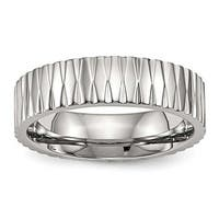 Stainless Steel Polished Textured Ring (6 mm) - Sizes 6 - 13