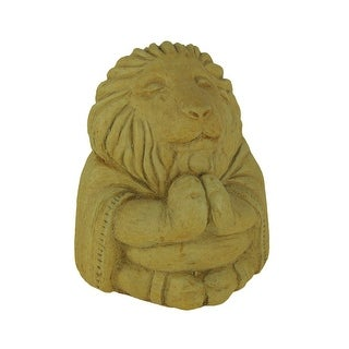 Designer Stone Harvest Yellow Zen Lion Concrete Statue - 5.75 X 4.5 X 4.25 inches