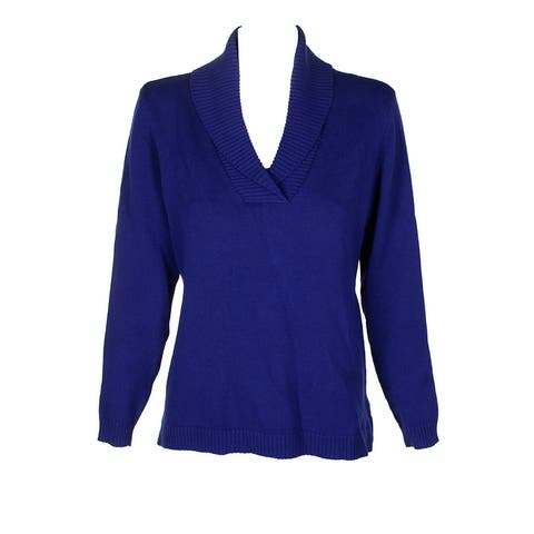 Charter Club Sapphire Blue V-Neck Shawl-Collar Mixed Knit Long-Sleeve Sweater M
