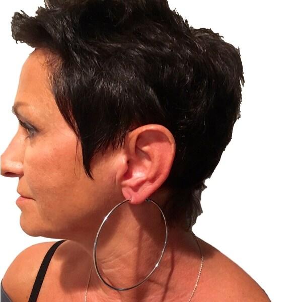 """eli k Womens 925 Sterling Silver Plate 4"""" Lever Back Hoops Earrings"""