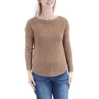 INC Womens New 2978 Brown Knitted Jewel Neck 3/4 Sleeve Casual Sweater S B+B