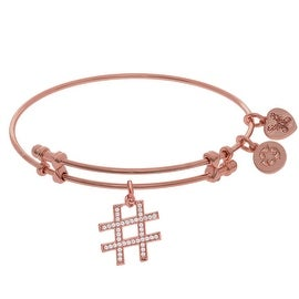 Brass Pink Finish Hash Tag Charm On Pink Angelica Collection Bangle