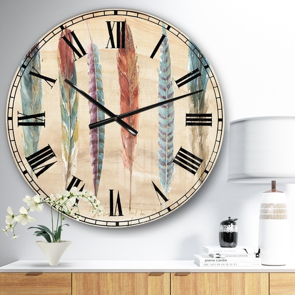 Designart 'Feathers Cottage Family ' Lake House Wall CLock. Opens flyout.