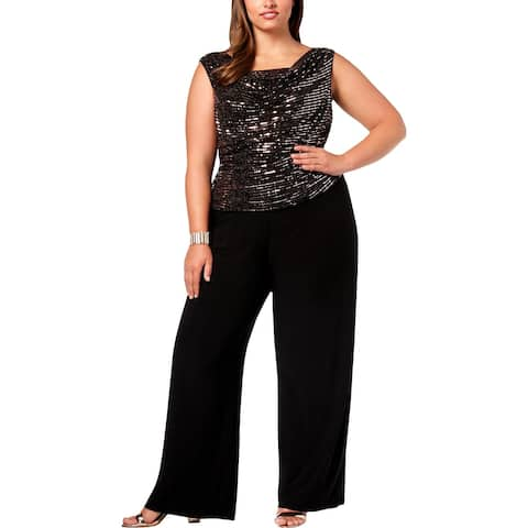 R&M Richards Womens Plus Jumpsuit Metallic Wide Leg