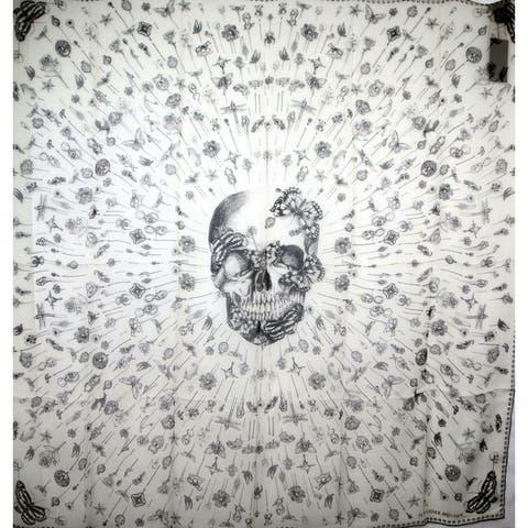 Alexander McQueen Women's Ivory / Black Skull Chiffon Silk Scarf Heirloom Pins 529935 9260 - One Size